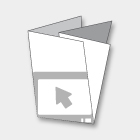 PIEGHEVOLI/DEPLIANTS DIN A5L - 10,5x29,7 cm CHIUSO 4 ANTE<br>CHIUSURA A CROCE